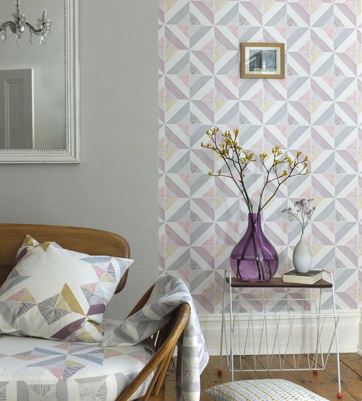 Pastel Geometrics | Firle Tile Wallpaper by Louise Body | Jane Clayton
