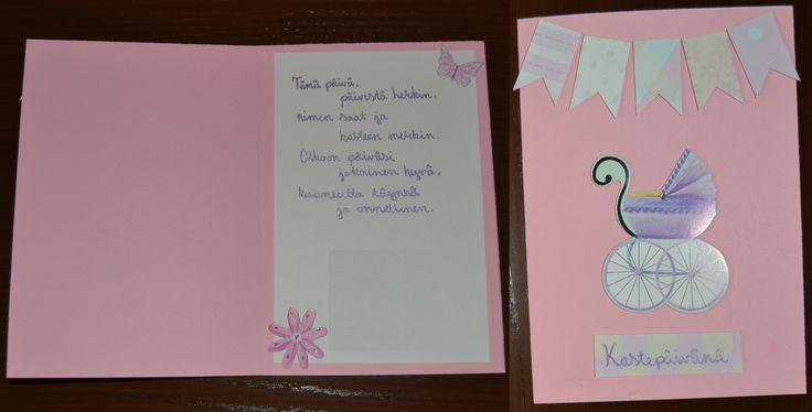 Kastekortti, baby girl card