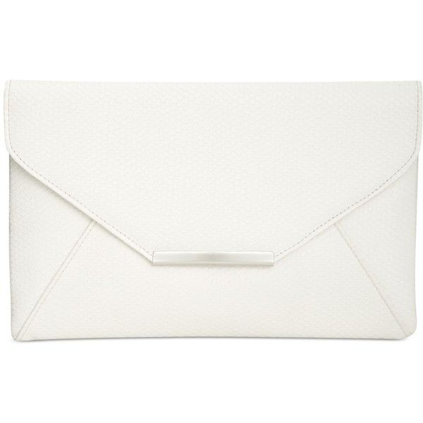 Style & Co. Lily Shiny Serpent Envelope Clutch, found on Polyvore featuring bags, handbags, clutches, white serpent, faux leather handbags, envelope clutch bag, evening handbags, white envelope clutch bag and white handbags