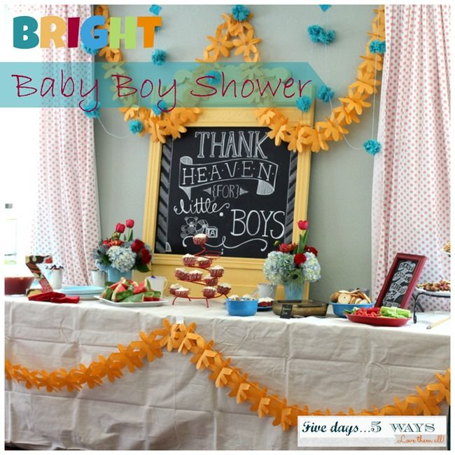 Bright Baby Boy Shower No Theme Just Lots Of Happy Colors To Tie