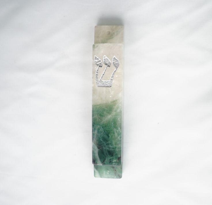 Green and White Mezuzah Case-Carved Fluorite Stone