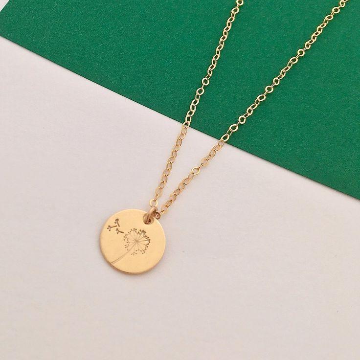Botanical gold disc necklace - dandelion