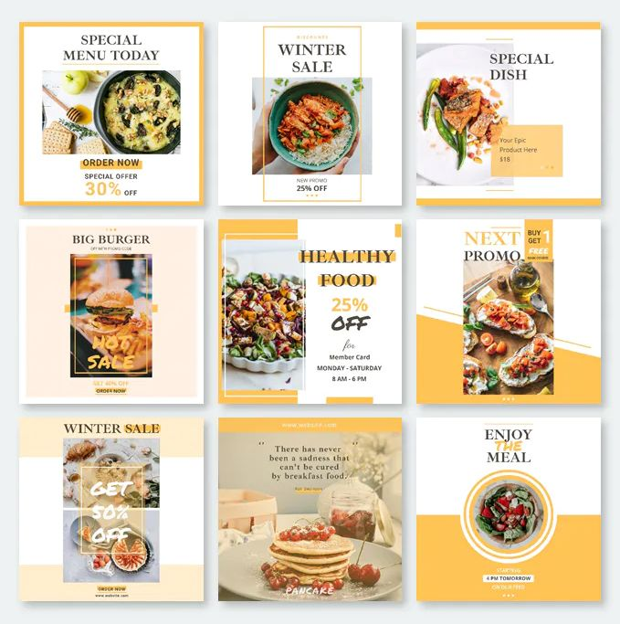 10 Super Easy Editable Instagram Food Post Templates Psd Food Poster Design Instagram Food Food Graphic Design
