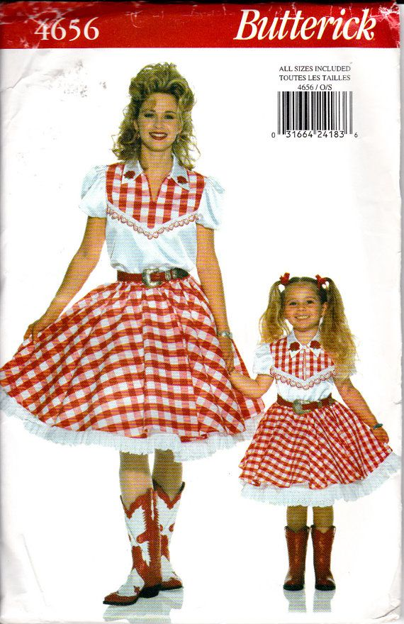 BUTTERICK 4656 Misses Childrens Mother and Daughter Western Cowgirl Square Dance Costume Top Skirt Petticoat Sizes 2-18 Uncut via Etsy