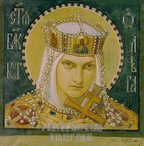 Saint Olga , Princess of Kiev by Bruni , Nikolai Alexandrovich ( 1856) Ancestor to Prince Phillip, husband of Queen Elizabeth. She ruthlessly ended an uprising among her people.  https://en.wikipedia.org/wiki/Olga_of_Kiev