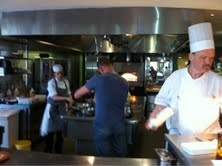 Simon filming the kitchens in Brenners Park, Baden Baden Germany