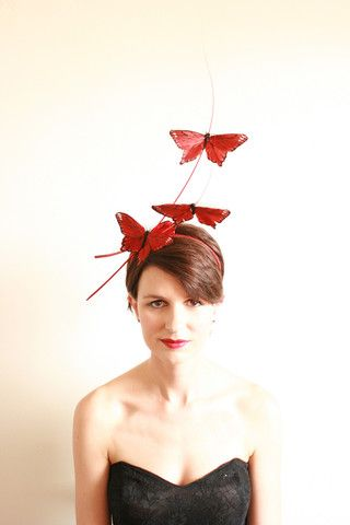 Natalie Chan Couture millinery, Volando in Red. Butterflies on sticks! x