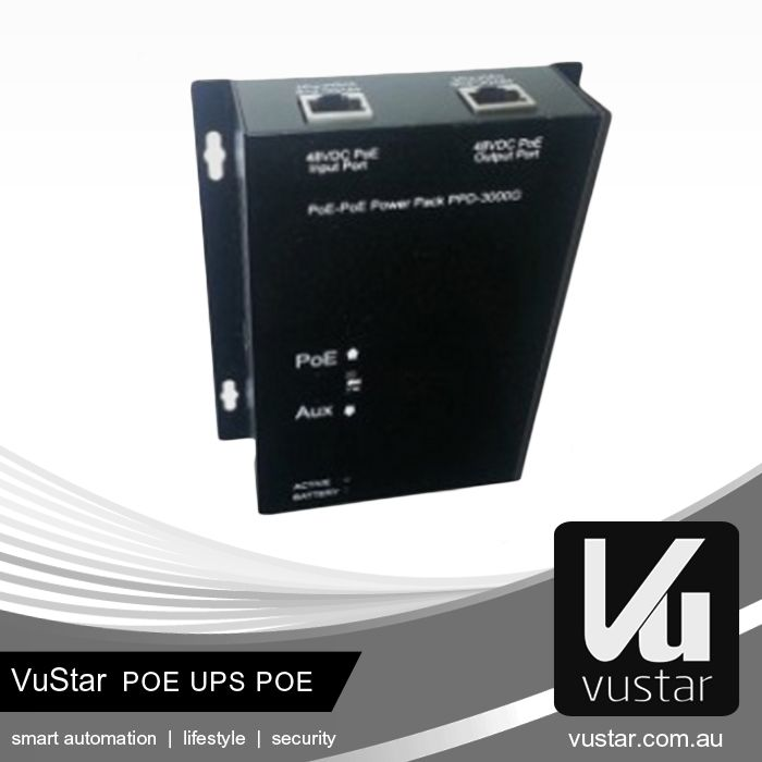 Vustar PoE UPS PoE  - Keep your cameras operating during power outage OR failure of your PoE switch - Charges from 802.3af PoE - Patented technology exclusive to Vustar - 10/100M Ethernet - Suitable for PoE 802.3af cameras and devices such as Wireless APS  Visit our online shop at http://eshop.vustar.cn/ to view our products. For more information, visit our website at http://www.vustar.cn. #technology #smarthome
