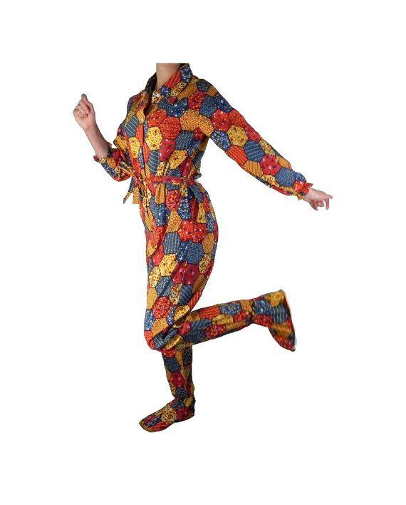 Adult Onsie Pajamas Womens Footed PJs with by BlackRockVintage