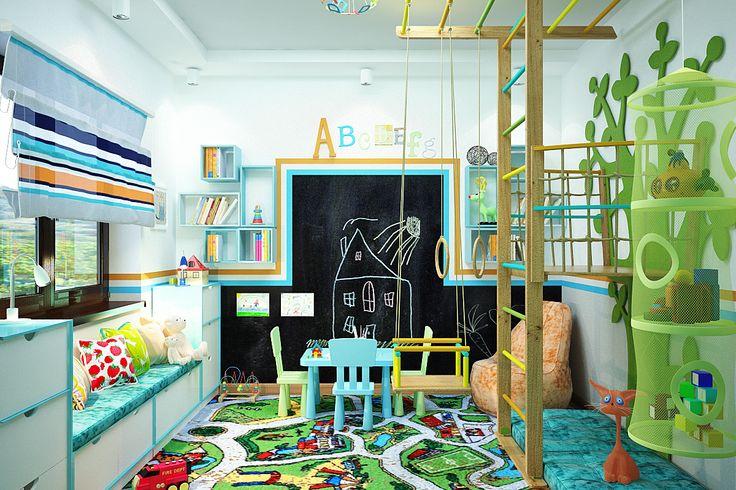 #kids_room #play_room #bedroom #interior #design Игровая комната для малышей / Нина Романюк