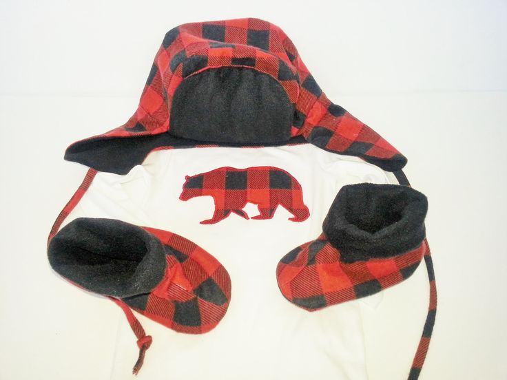 Lumberjack Outfit Hat Booties Bear Onesie Red Black Plaid Newborn baby coming home outfitLumberjack outfit for baby by Cuddlythreads on Etsy