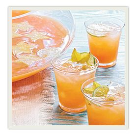NON-ALCOHOLIC TROPICAL PUNCH Ingredients: 1.5 quarts orange juice 1 quart pineapple juice 1 liter lemon-lime soda Sliced canned pineapple rings, drained  Preparation: Combine the liquid ingredients in large bowl, garnish with sliced fruit and chill with ice or in the refrigerator. Serves 15-20.