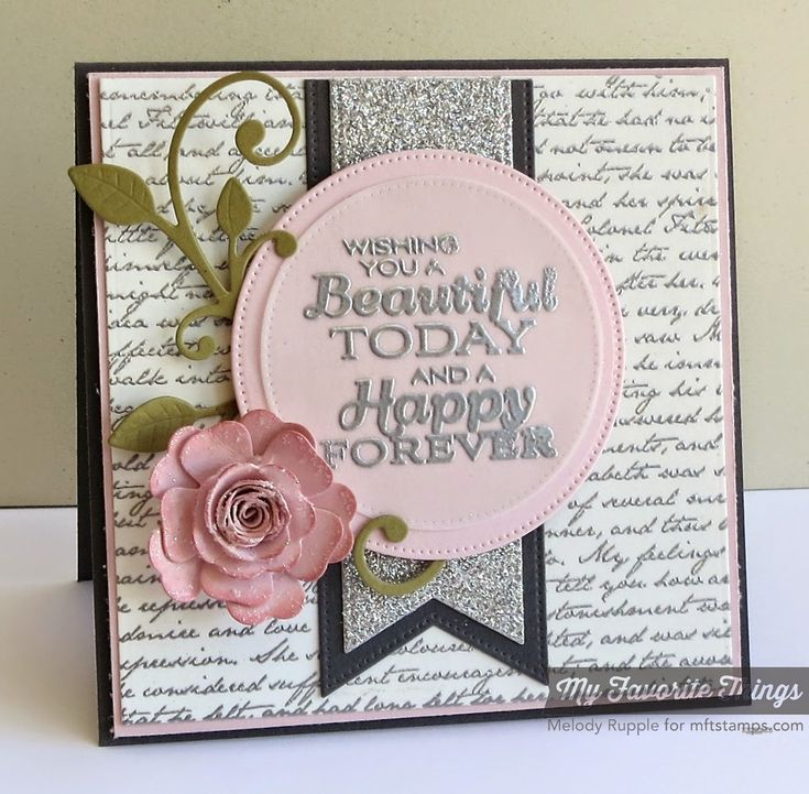 Romantic Script Background, Together Forever, Leaf-Filled Flourish Die-namics, Mini Hybrid Heirloom Rose Die-namics, Pierced Fishtail Flags STAX Die-namics, Pierced Circle STAX Die-namics - Melody Rupple #mftstamps