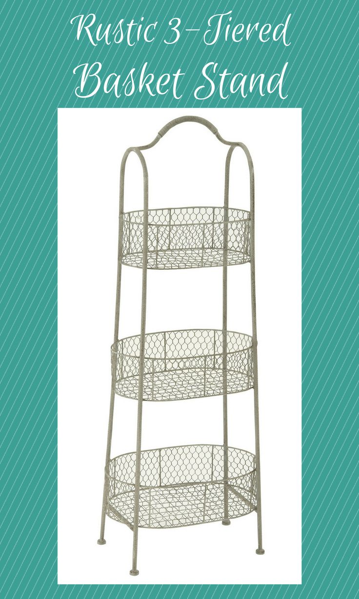 Farmhouse rustic iron 3-tiered basket stand, distressed and chipped paint-finish vintage white iron bar tapered stand with handle, small, medium and large oval wire frame baskets with chicken wire sides and horizontal iron bar bottoms. #metal #afflink #organization #storage #rustic #rusticdecor #rustickitchen #rusticfarmhouse #farmhouse #farmhousekitchen