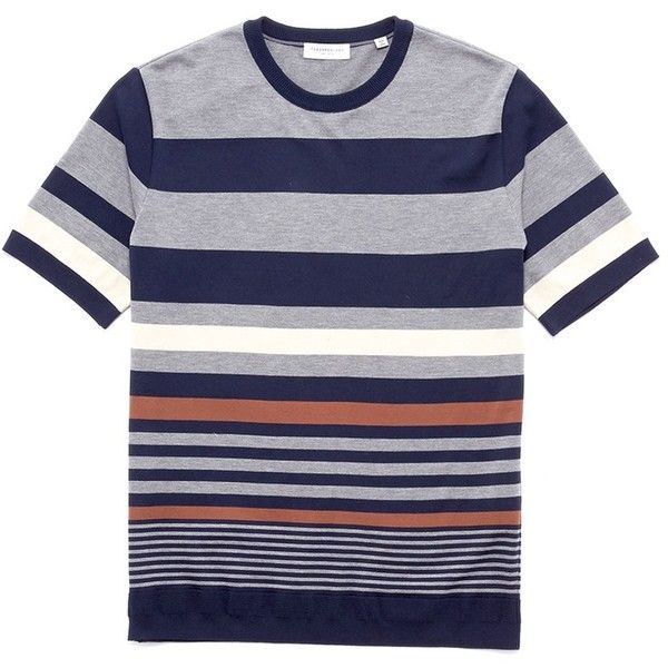 Tomorrowland Mix stripe cotton knit T-shirt (16,000 INR) ❤ liked on Polyvore featuring men's fashion, men's clothing, men's shirts, men's t-shirts, mens striped shirt, colorful mens dress shirts, mens striped t shirt, mens thin t shirts and mens multi coloured shirts