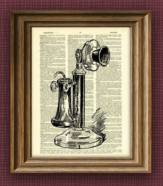 ANTIQUE CANDLESTICK TELEPHONE beautifully upcycled by collageOrama, $6.99