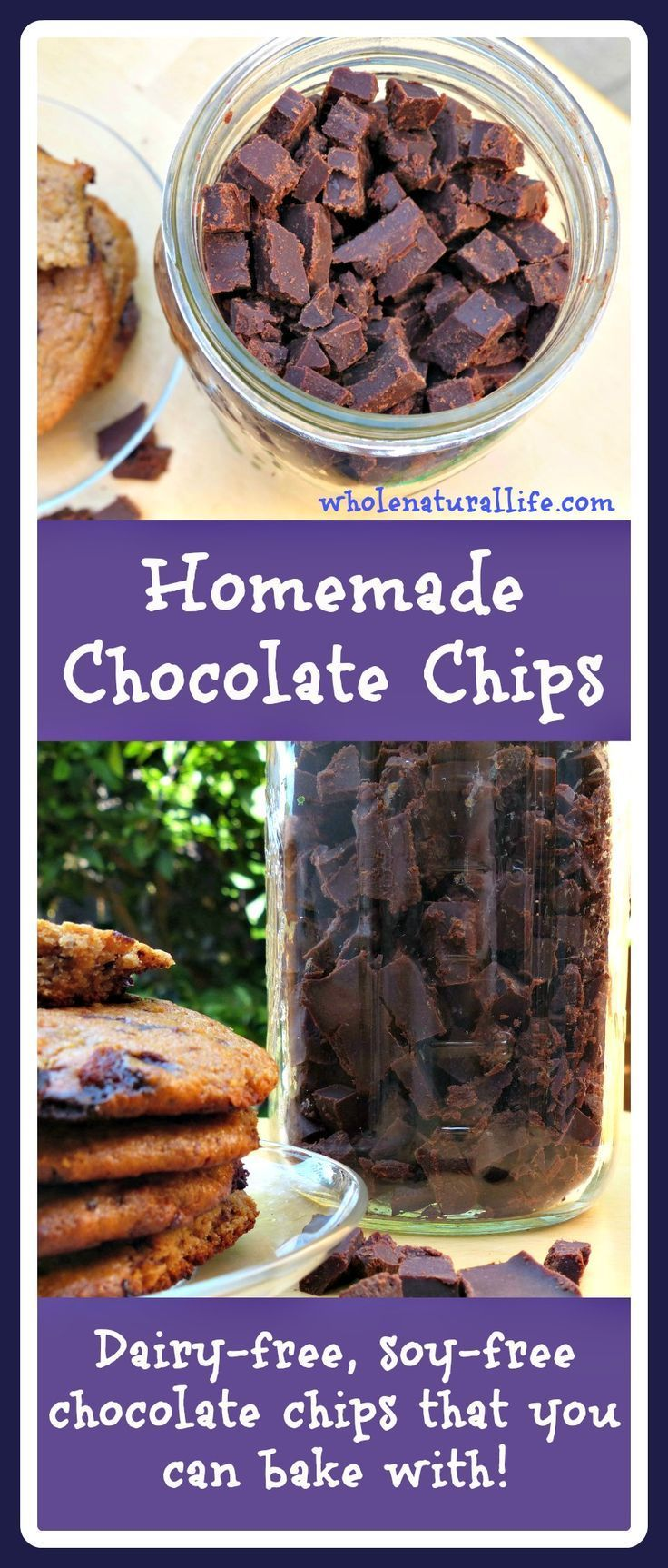 Learn how to make your own chocolate chips with this easy tutorial. These homemade chocolate chips are soy-free, dairy-free, and honey-sweetened, and can be used in all of your favorite baked goods!