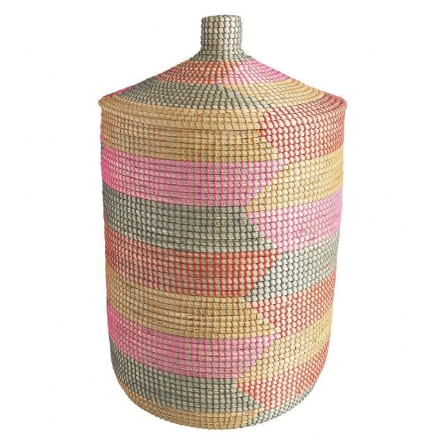 With its lively zigzag pattern, the Ular pink seagrass laundry basket with lid combines functionality with distinctive design.[br]Handwoven in Vietnam; the basket's pretty colour palette makes it an attractive addition to a bedroom, bathroom or utility room.