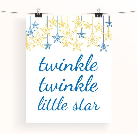 Twinkle twinkle little star blue and yellow nursery by madebyaiza