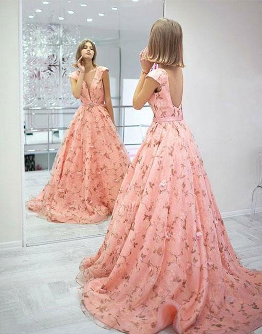 a697ddd32d White v neck lace tulle long prom dress