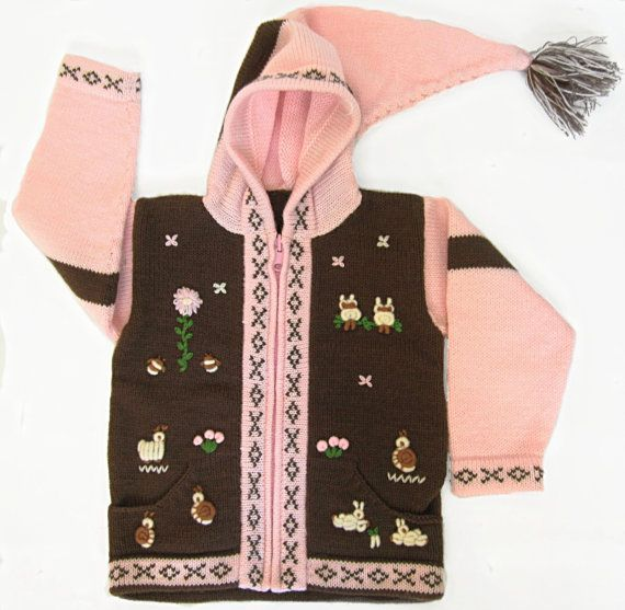 Hooded pink brown sweater/ lambswool and cotton knit hoodie / wool jacket / beanie / embroidery handmade / girl / toddler coat