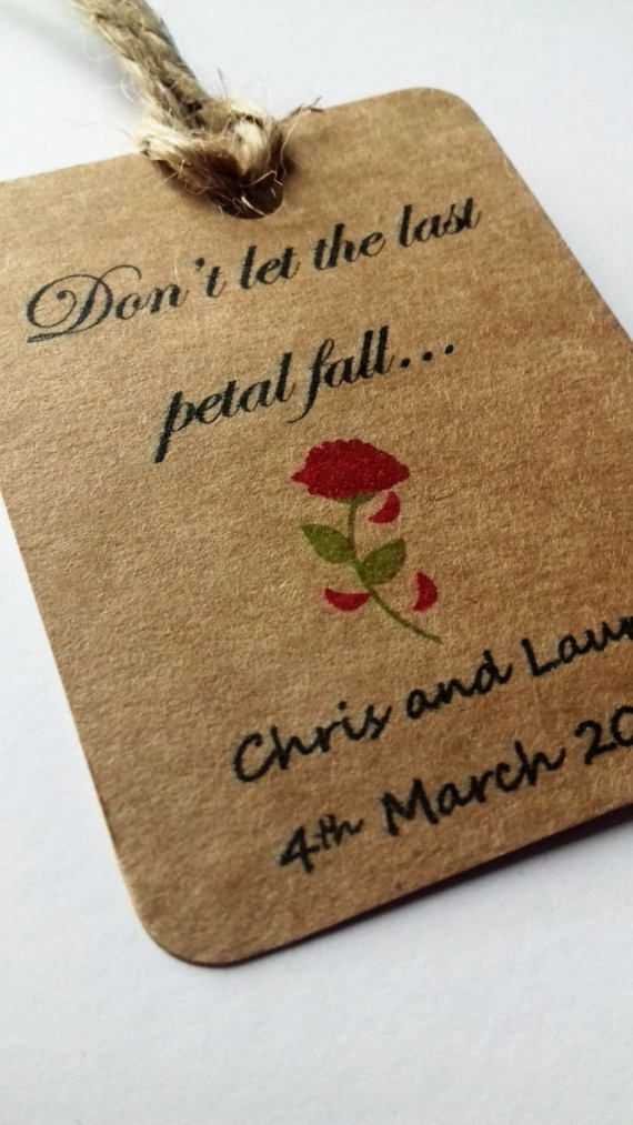 Beauty and the Beast wedding, Don't let the last petal fall, Beauty and the Beast wedding favour, Disney Wedding, Wedding tags, Favor tags.