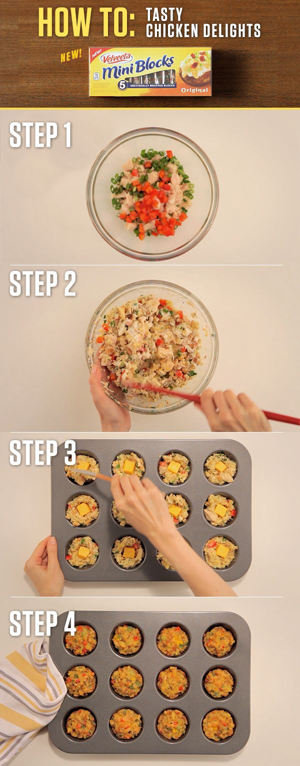 How to make VELVEETA Tasty Chicken Delights – Just take one of VELVEETA's new 4oz. Mini Blocks and you're just 30 minutes away from bite-sized morsels that pack a big punch. For more Mini Block recipes visit http://www.kraftrecipes.com/velveeta/main.aspx