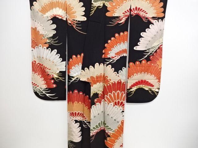 大正ロマン 錦紗松模様刺繍五つ紋花嫁衣装振袖