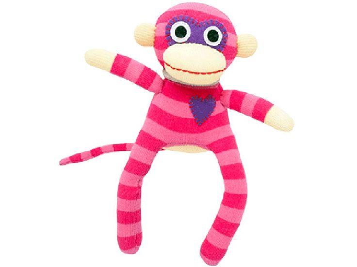 Süßer kleiner HickUps Sockenaffe mit rosa Streifen. Der Kleinste der Affenbande, zuckersüß und natürlich mit Herz. Lustiger Mitbewohner aus Socken.