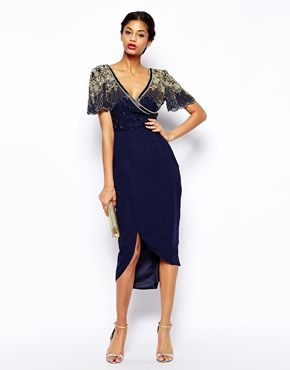 Enlarge Virgos Lounge Julisa Midi Dress With Wrap Front and Embellished Shoulder