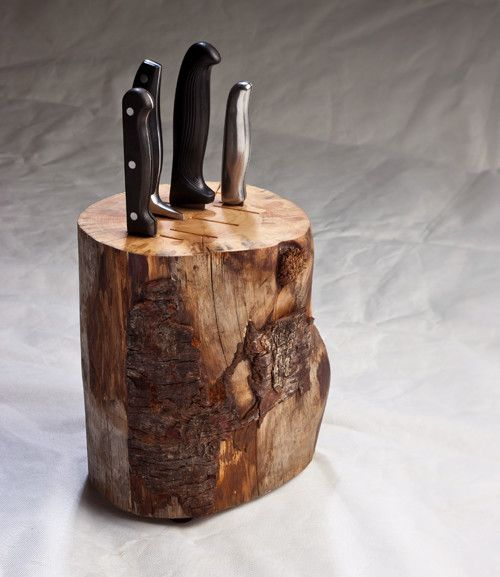 This stunning stump knife block would look good in anyone's home.