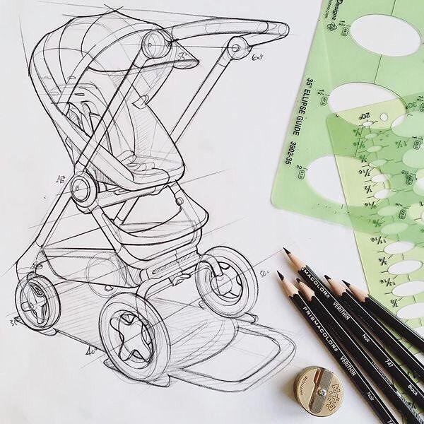 """Do Strollers qualify as transportation design ?"" - what do you all think ? - - Sketch from @permafrost_designstudio - - #sketch #stroller #designer #letsdesigndaily @letsdesigndaily"