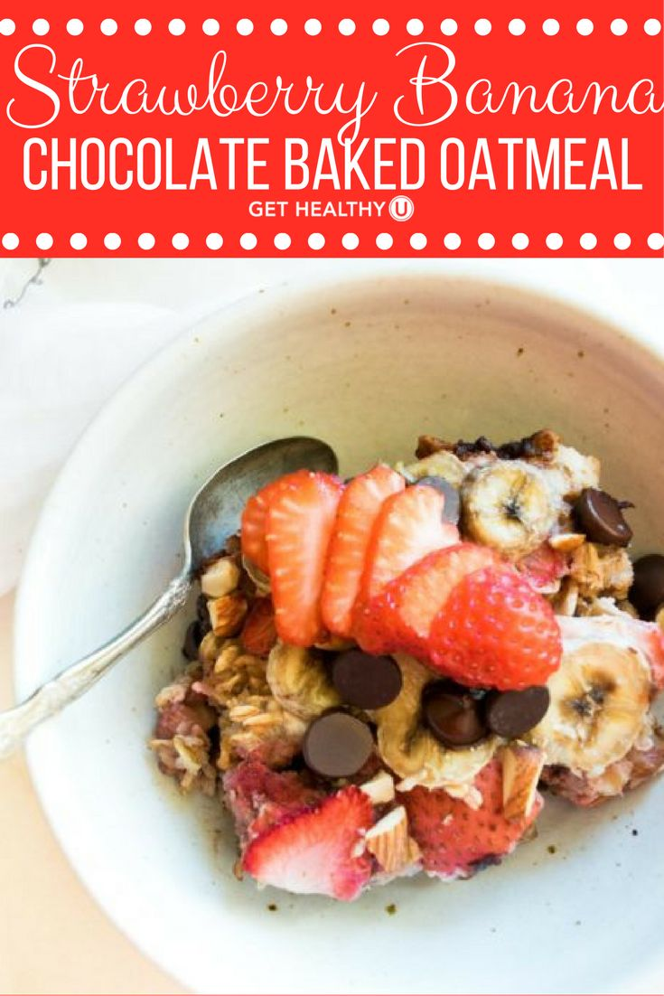 Check out this Strawberry Banana Chocolate Baked Oatmeal. Yum! All baked into oatmeal squares that are delicious warm right out of the oven and will keep great in the fridge to warm up for breakfast (or dinner) in the future.