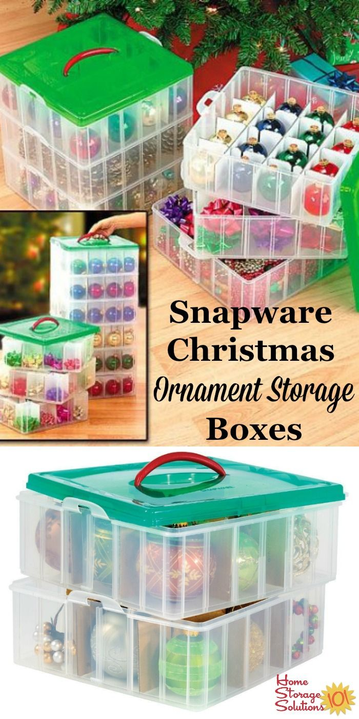 Christmas ornament storage boxes from Snapware, with dividers, keep individual ornaments organized and from clanking together to prevent damage.