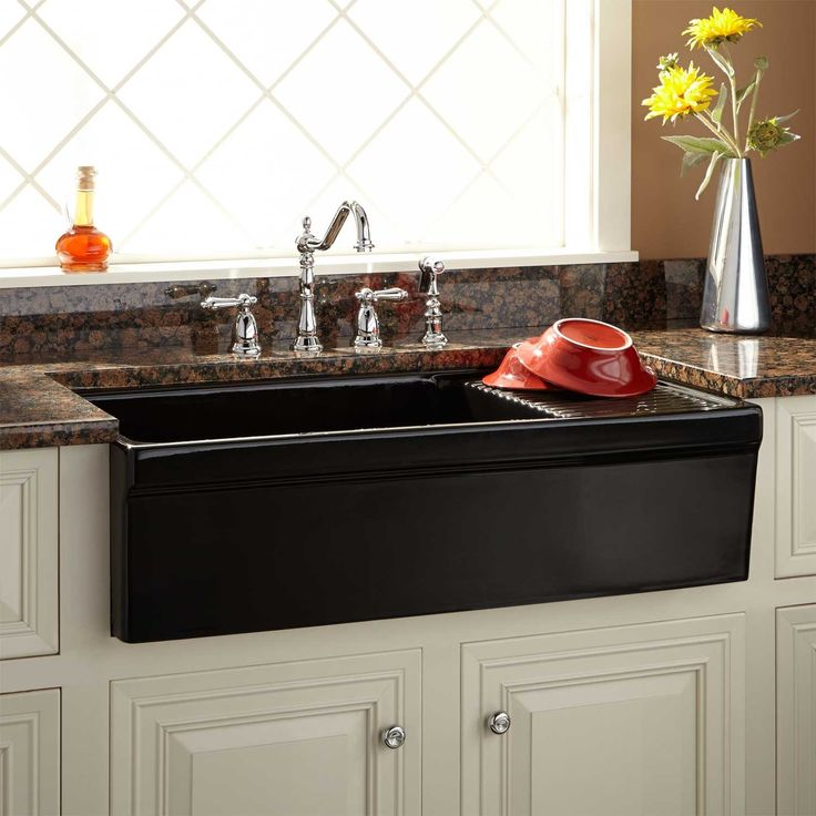 "36""+Gallo+Fireclay+Farmhouse+Sink+with+Drainboard+-+Black"
