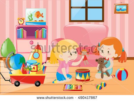 Two girls playing with toys in room illustration