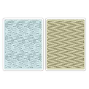 Sizzix Textured Impressions Embossing Folders 2PK - Hexagons & Chevrons Set €10,19