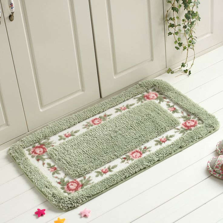 ==> [Free Shipping] Buy Best 40x60cm Polyester Suede doormats Green Anti-slip Carpets Outdoor Mat Rectangle Flower Floral Entrance Door Mats Bathroom Mat Online with LOWEST Price | 32799297639