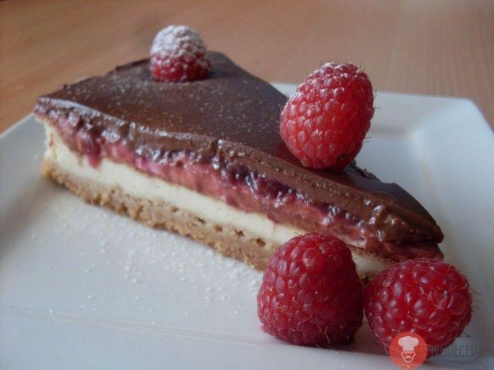 Cheesecake s malinami a čokoládou