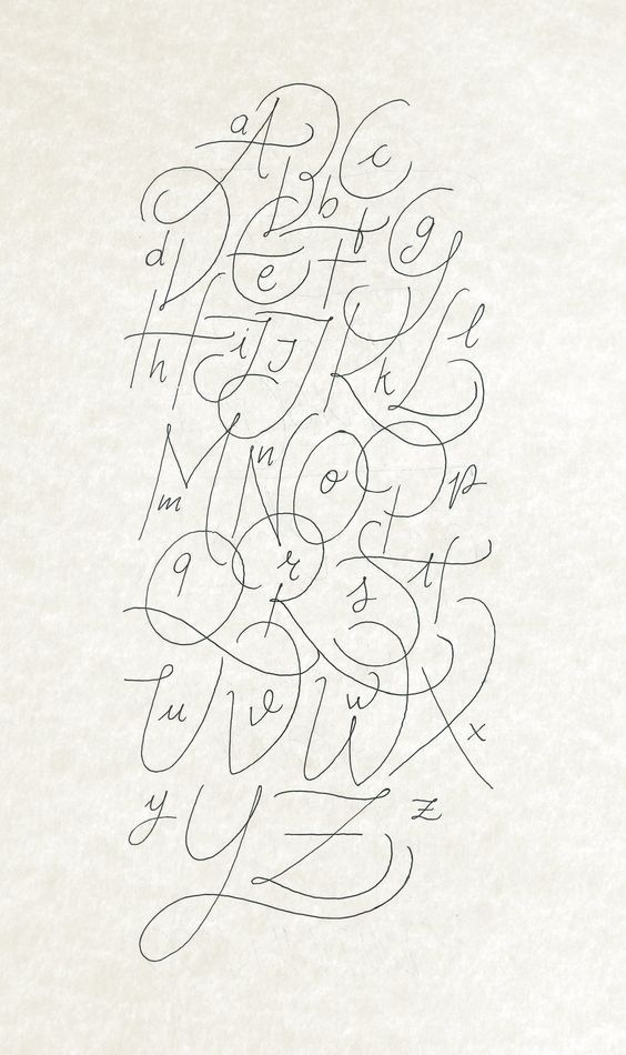 Calligraphy Alphabet Rought Made With Bic Crystal Gel And Digitalized