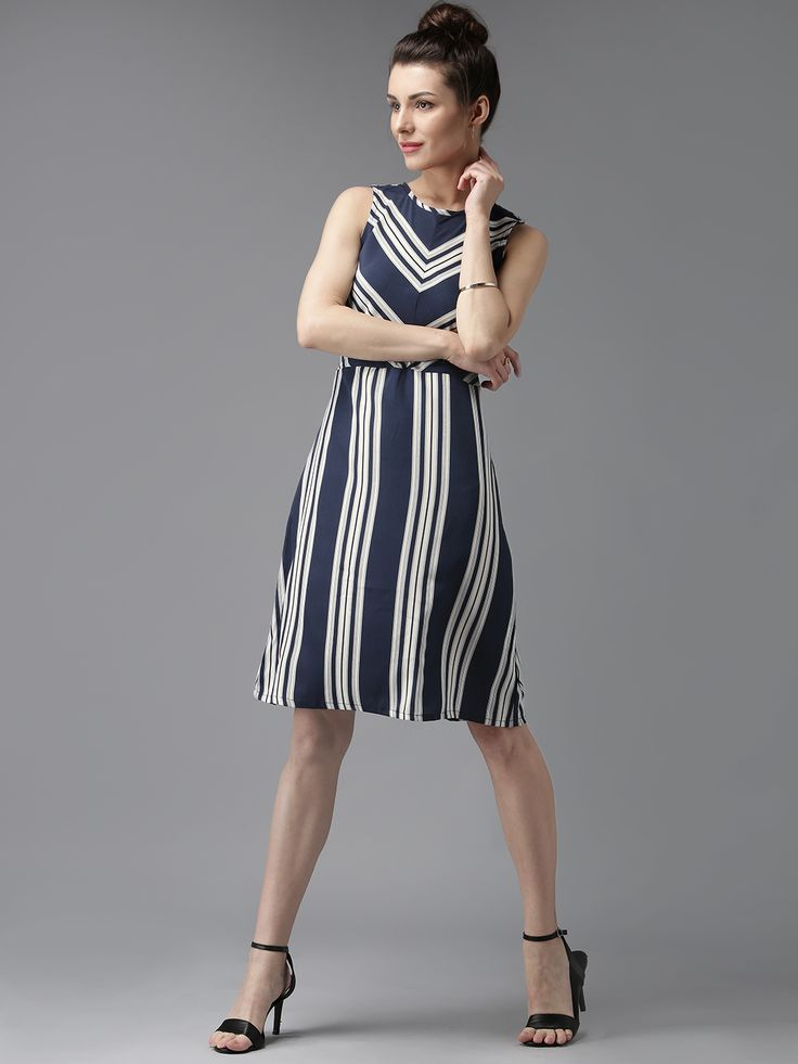 Buy Moda Rapido Navy Blue Polyester Striped Fit & Flare Dress online in  India at best price. avy and off-white woven striped fit and flare dress,  ...