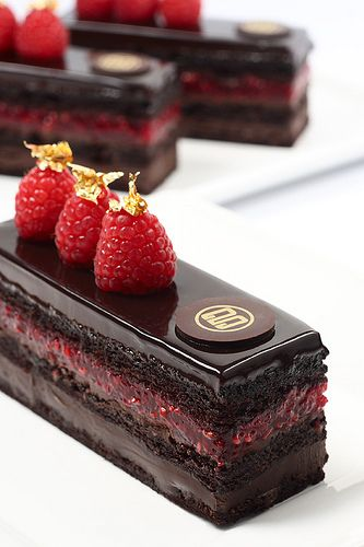 Raspberry Chocolate Cake by Gerald Goh - Beautiful presentation!