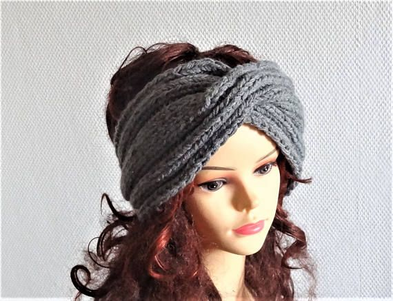 Handmade Knit turban Headband Dark Gray Knitted Headband Hand