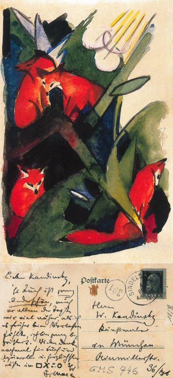 Postcards by Franz Marc, 1913. Four Foxes, to Wassily Kandinsky in Munich, 4 February 1913.