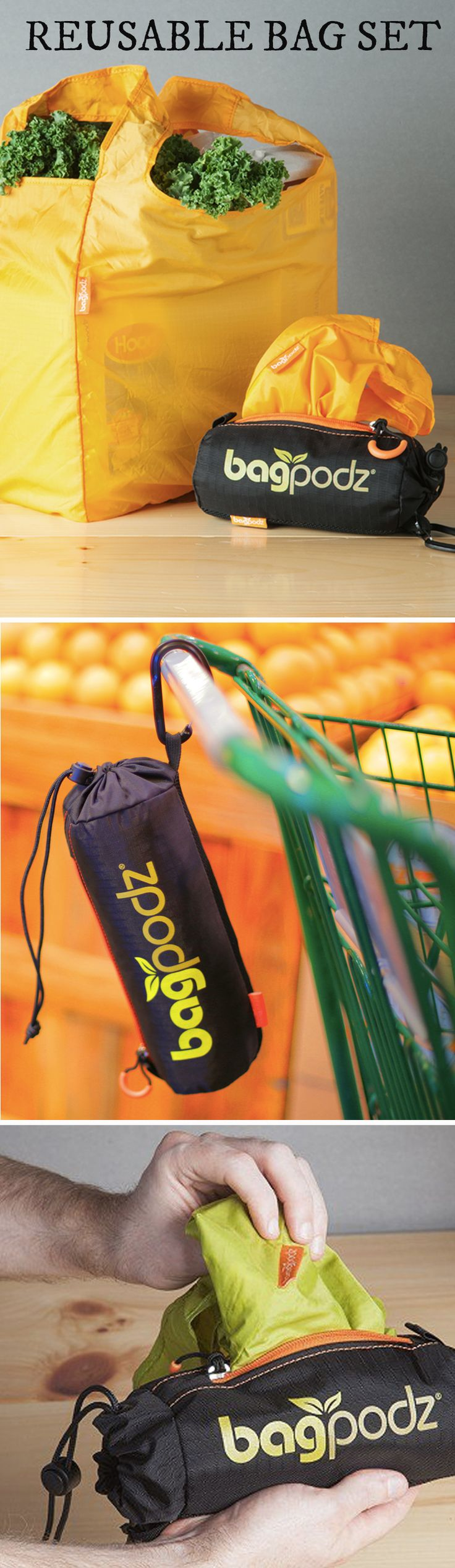 BagPodz is a reusable bag set that stays neatly packed and on hand whenever you need them.