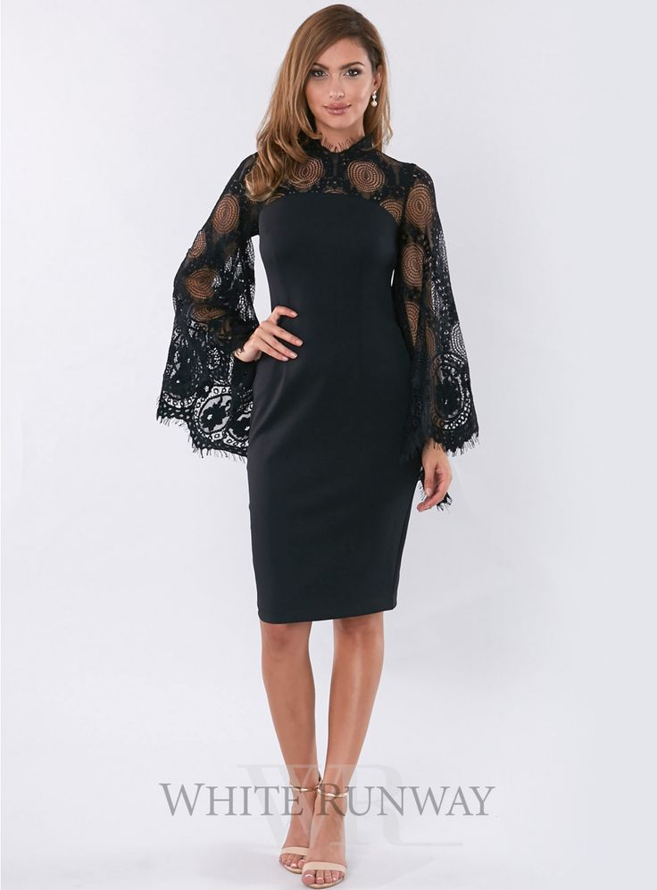 Queen Bee Midi. A gorgeous midi dress by Grace and Hart. A fitted dress featuring lace flares sleeves and lace neckline.