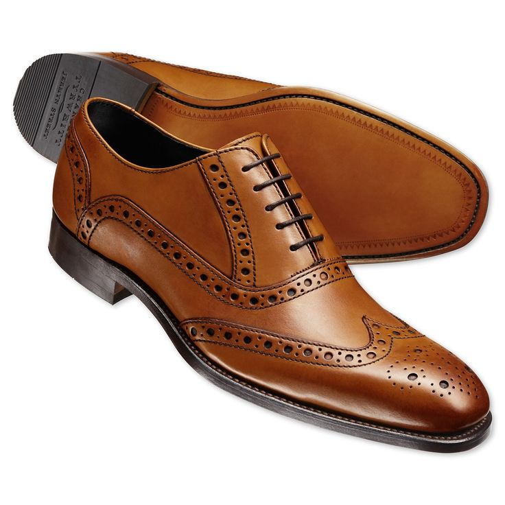 Tan contemporary calf brogue shoes | Men's business shoes from Charles Tyrwhitt, Jermyn Street, London