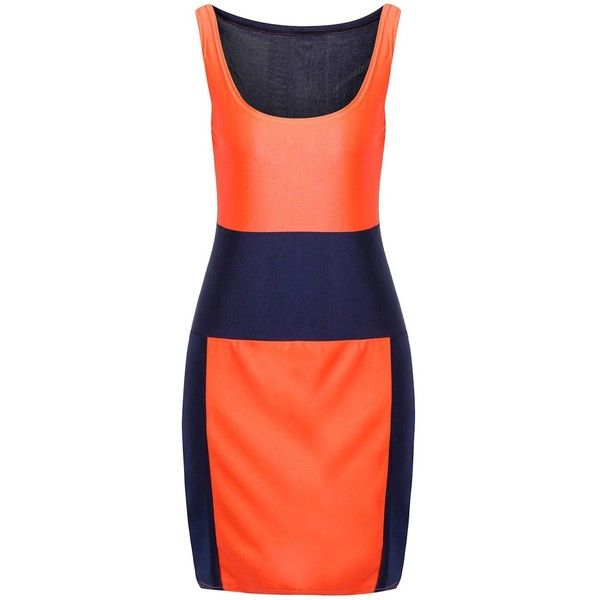 Sexy U Neck Sleeveless Low Cut Color Block Women s Dress (16 CAD) ❤ liked on Polyvore featuring dresses, sexy low cut dresses, colorblock dress, block print dresses, sexy sleeveless dress and sleeveless colorblock dress