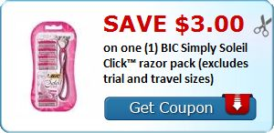 New Coupon!  Save $3.00 on one (1) BIC Simply Soleil Click™ razor pack (excludes trial and travel sizes) - http://www.stacyssavings.com/new-coupon-save-3-00-on-one-1-bic-simply-soleil-click-razor-pack-excludes-trial-and-travel-sizes-3/