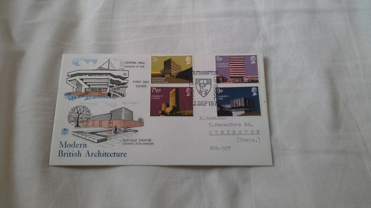 FDC British architecture  ( modern university building ) by brianspastimes on Etsy